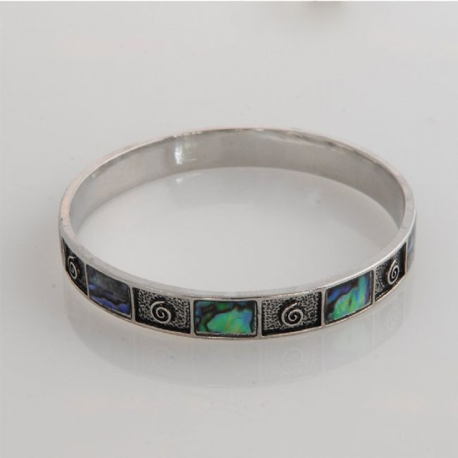Paua Koru Bangle Small/Medium/Large - Kiwi Collections