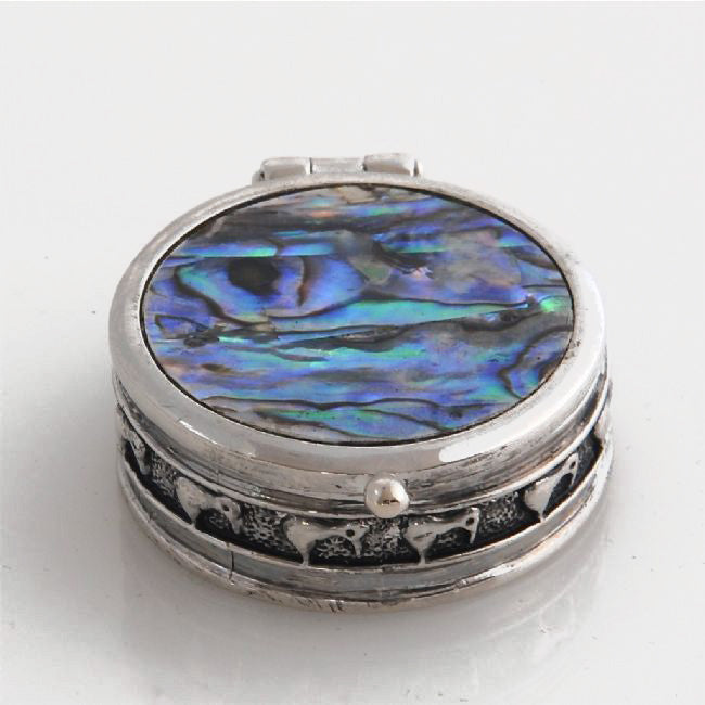 Round Paua Kiwi Hinged Pill Box - Kiwi Collections