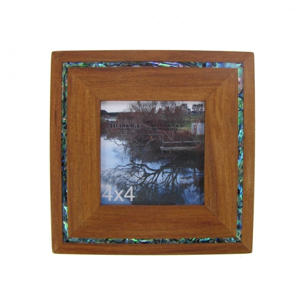 "PICTURE FRAME, RIMU - 4X4"" PAUA STRIP - Kiwi Collections"