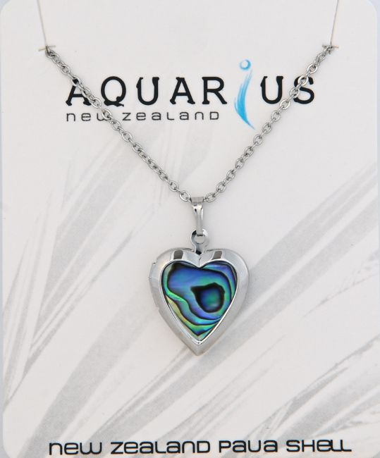Silver/Paua Heart Locket - Kiwi Collections