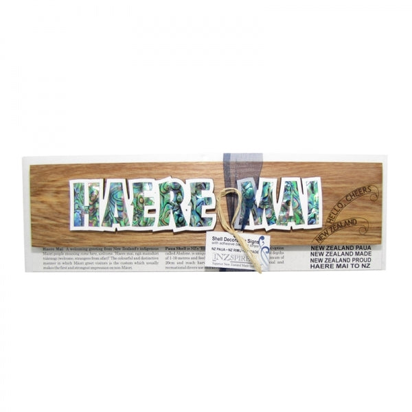 SHELL DECORATIVE SIGN, HAERE MAI - Kiwi Collections