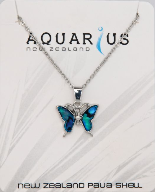 Blue Paua Butterfly Pendant - Kiwi Collections