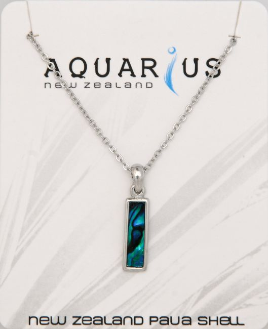 Blue Paua/Chrome Oblong Pendant - Kiwi Collections
