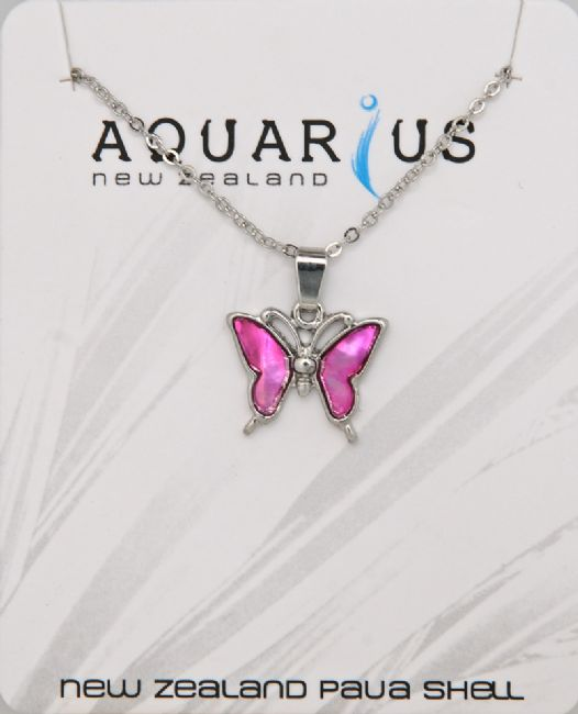 Pink Butterfly Pendant - Kiwi Collections
