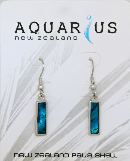 Blue Paua Rectangle Chrome Er - Kiwi Collections