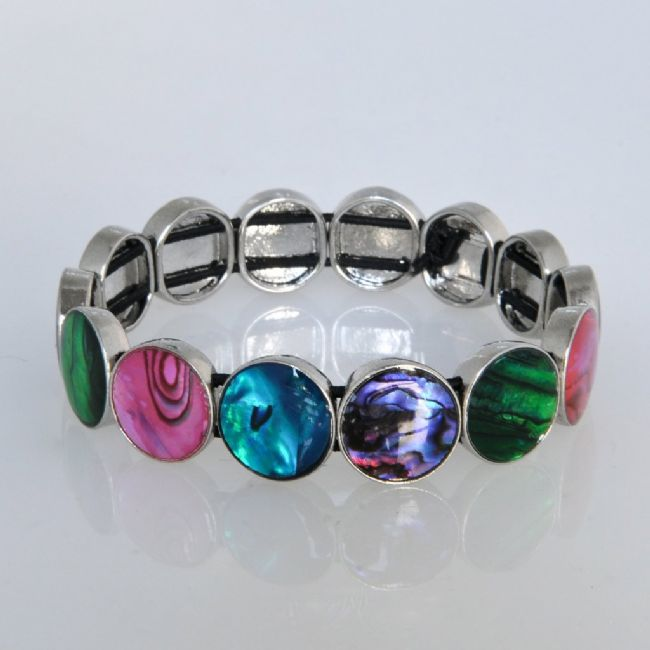 Coloured Paua Rounds Stretch Braclet - Kiwi Collections