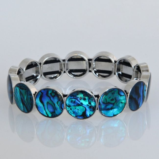 Blue Paua Rounds Stretch Bracelet - Kiwi Collections