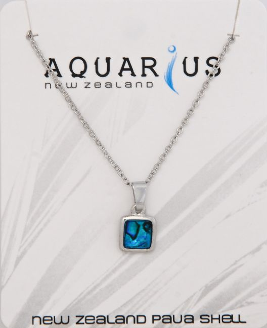 Blue Paua Square Pendant - Kiwi Collections