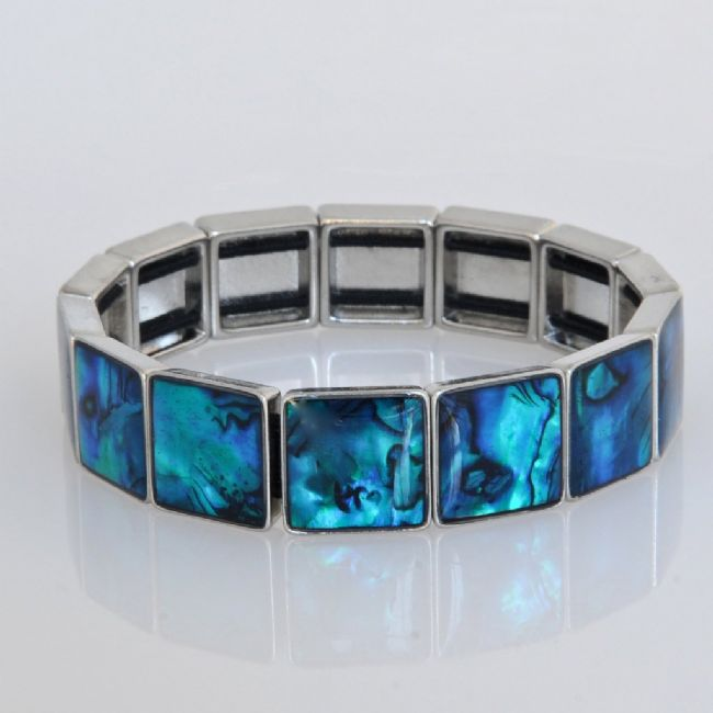 Blue Paua Square Stretch Bracelet - Kiwi Collections