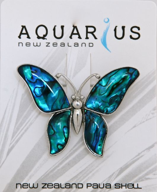 Blue Paua Butterfly Brooch - Kiwi Collections
