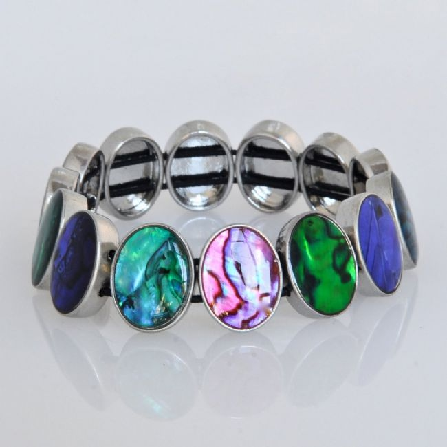 Paua Multi Oval Stretch Bracelet - Kiwi Collections