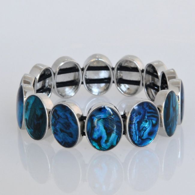 Blue Paua Oval Stretch Bracelet - Kiwi Collections