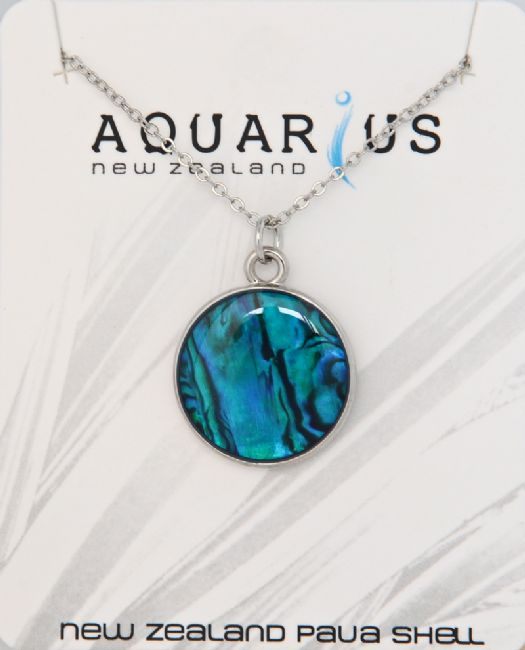 Lg Blue Paua Round Disc Pendant - Kiwi Collections