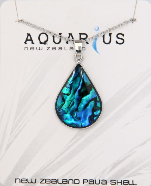 Blue Paua Chrome Teardrop Pendant - Kiwi Collections