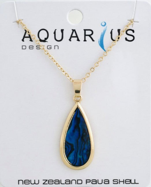 Sml Gold Blue Paua Teardrop Pendant - Kiwi Collections