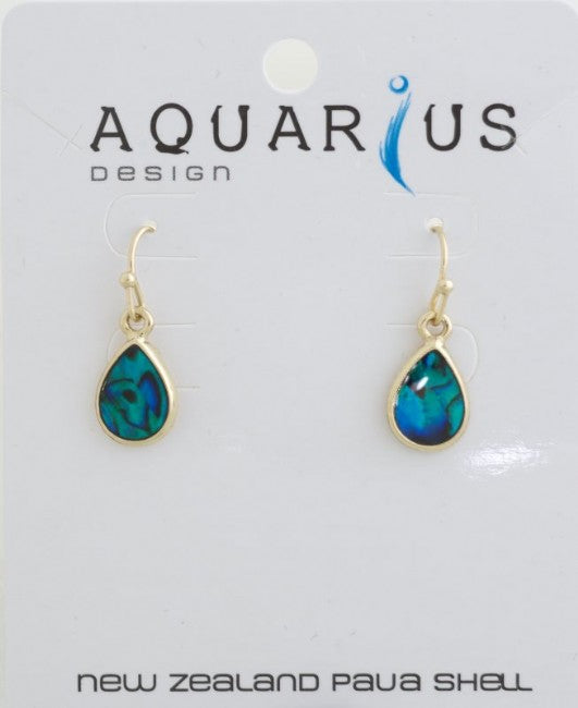 Blue Paua/Gold Sm Teardrop Er - Kiwi Collections