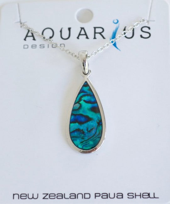 Sml Blue Paua Teardrop Pendant - Kiwi Collections