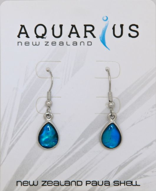 Blue Paua/Chrome Sm Teardrop Er - Kiwi Collections