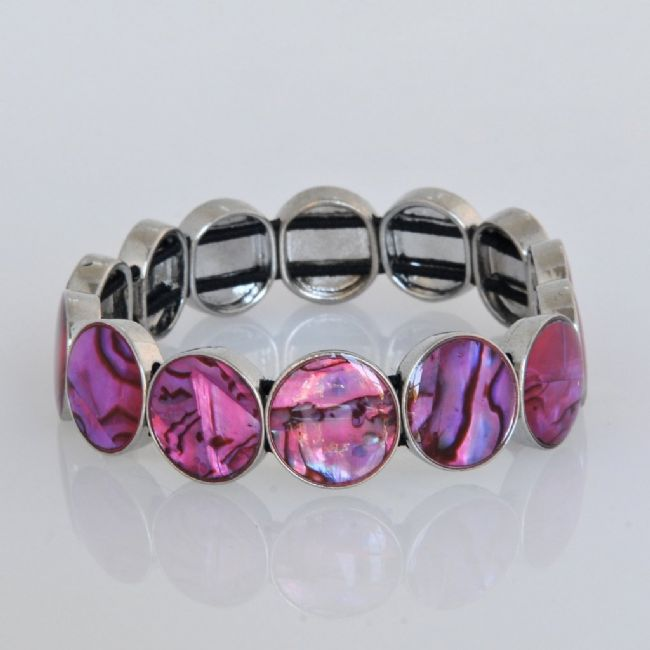 Pink Paua Round Stretch Bracelet - Kiwi Collections