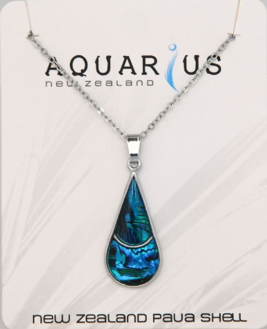Blue Paua Teardrop Pendant - Sml - Kiwi Collections