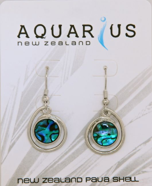 Blue Paua Single Round Coil Hook Er - Kiwi Collections