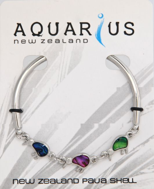 Multi Coloured 3 Kiwi Bar Bangle - Kiwi Collections