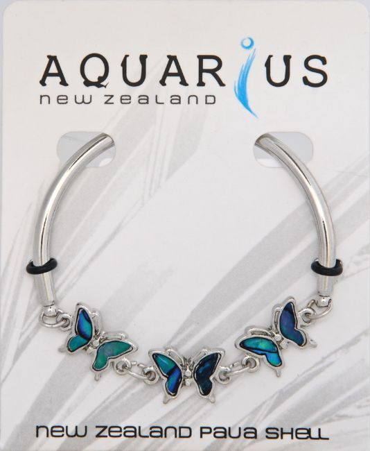 Blue 3 Butterfly Bar Bangle - Kiwi Collections