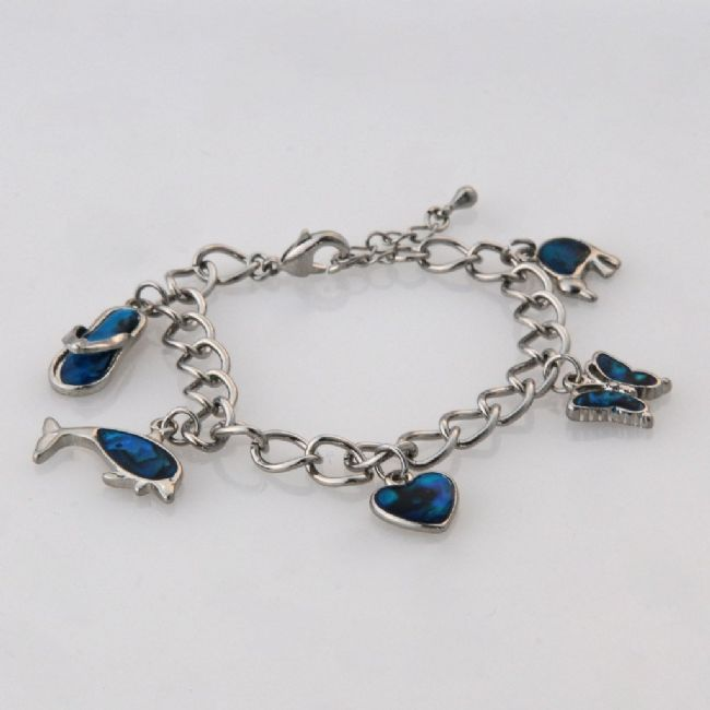 Blue Paua Multi Charm Bracelet - Kiwi Collections