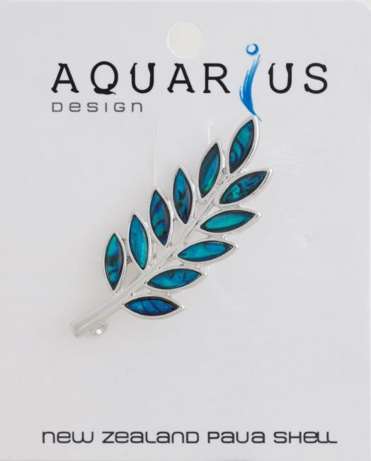 Blue Paua Fern Brooch - Kiwi Collections