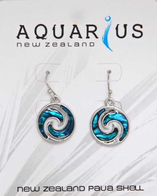 Blue Paua Round Wave Hk Er - Kiwi Collections