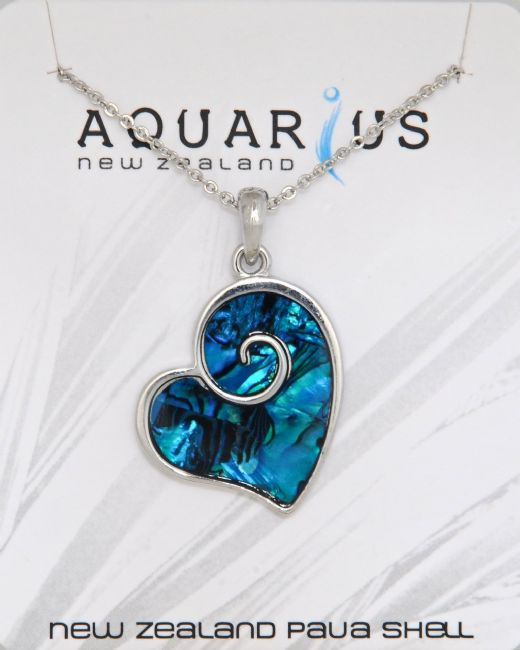Dyed Blue Large Heart Pendant with Overlay Design - Kiwi Collections