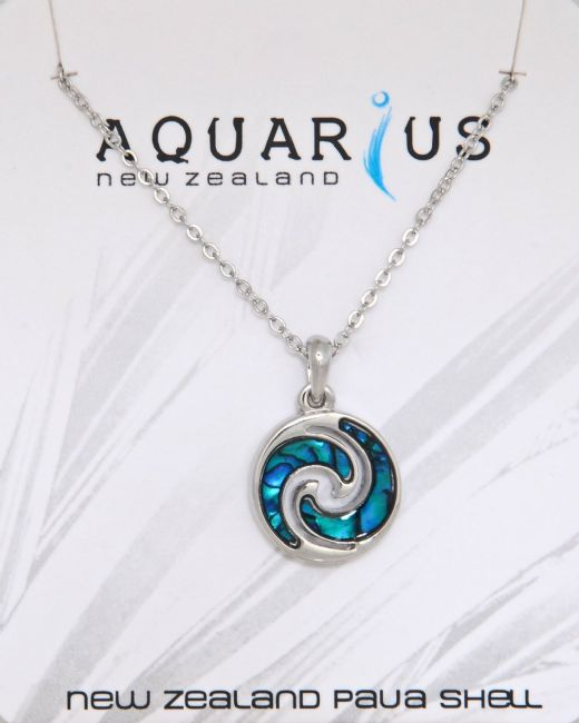 Blue Paua Round Wave Pendant - Kiwi Collections