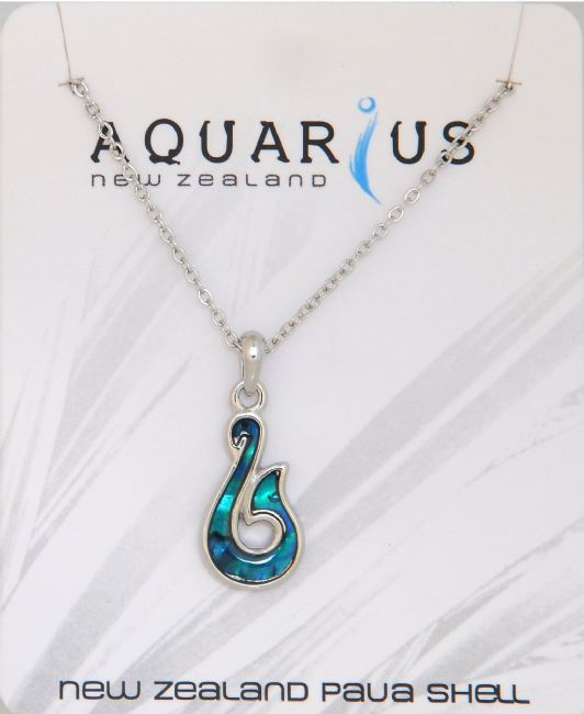 Blue Paua Sm Hook Pendant - Kiwi Collections