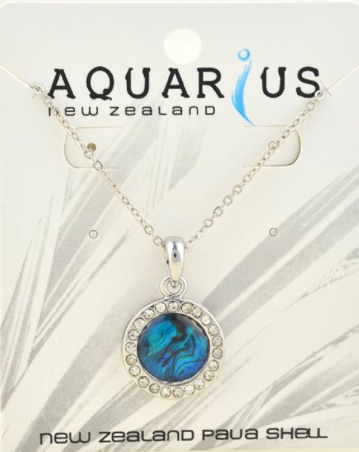 Round Blue Paua w crystal Pendant - Kiwi Collections