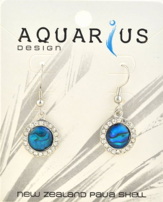 Round Blue Paua w crystal ER - Kiwi Collections
