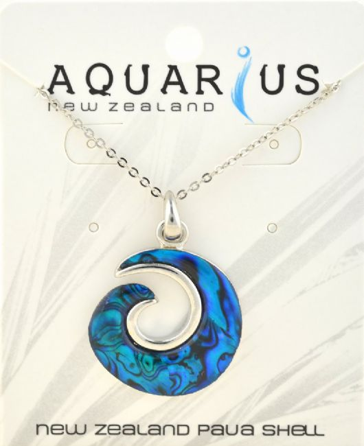 Blue Paua Koru Pendant - Kiwi Collections