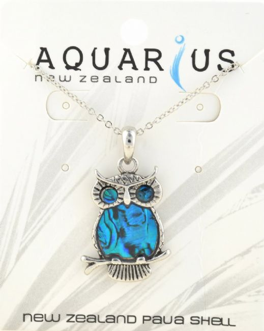 Blue Owl on branch Pendant - Kiwi Collections