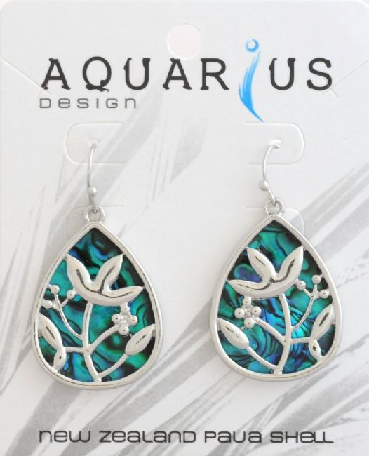 Blue Paua Flower Filigree Drop Er - Kiwi Collections