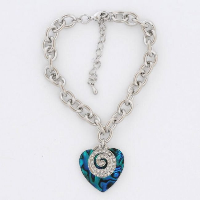 Blue Paua Heart with Crystal Koru Charm BL - Kiwi Collections