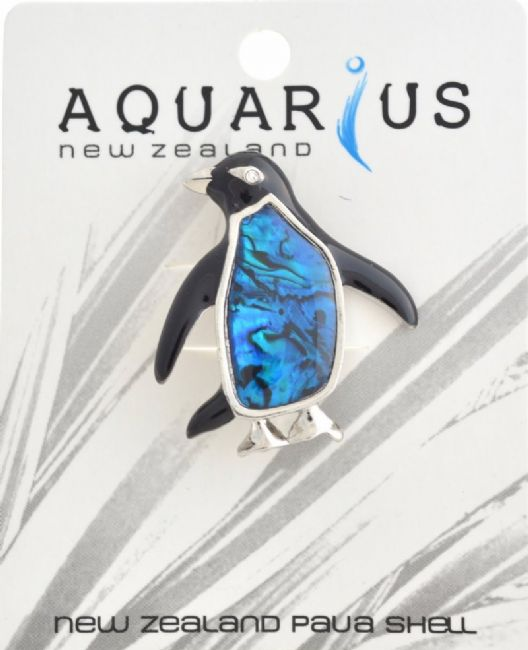 Blue Paua Penguin Brooch - Kiwi Collections