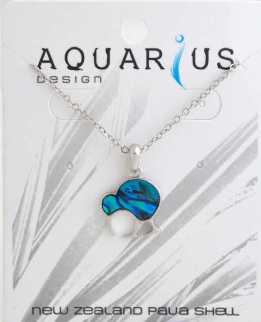 Blue Paua Walking Kiwi Pendant NL - Kiwi Collections