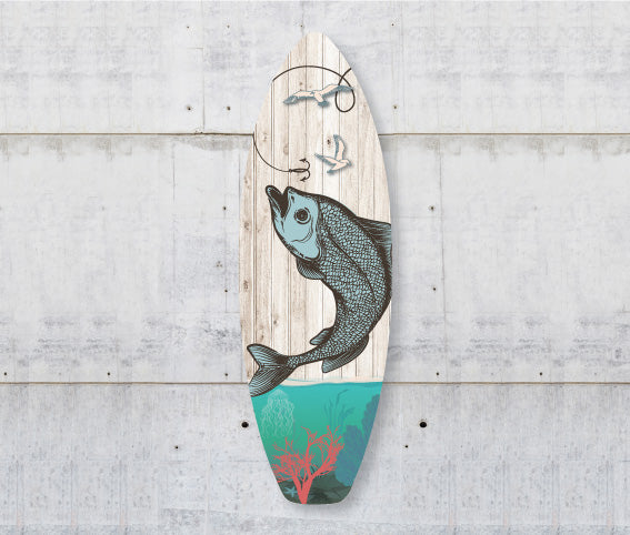 Plywood Surfboard Art : Fishing (Plank) - Kiwi Collections
