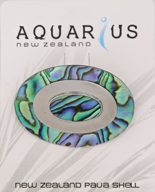 Oval Paua/Steel Brooch - Kiwi Collections