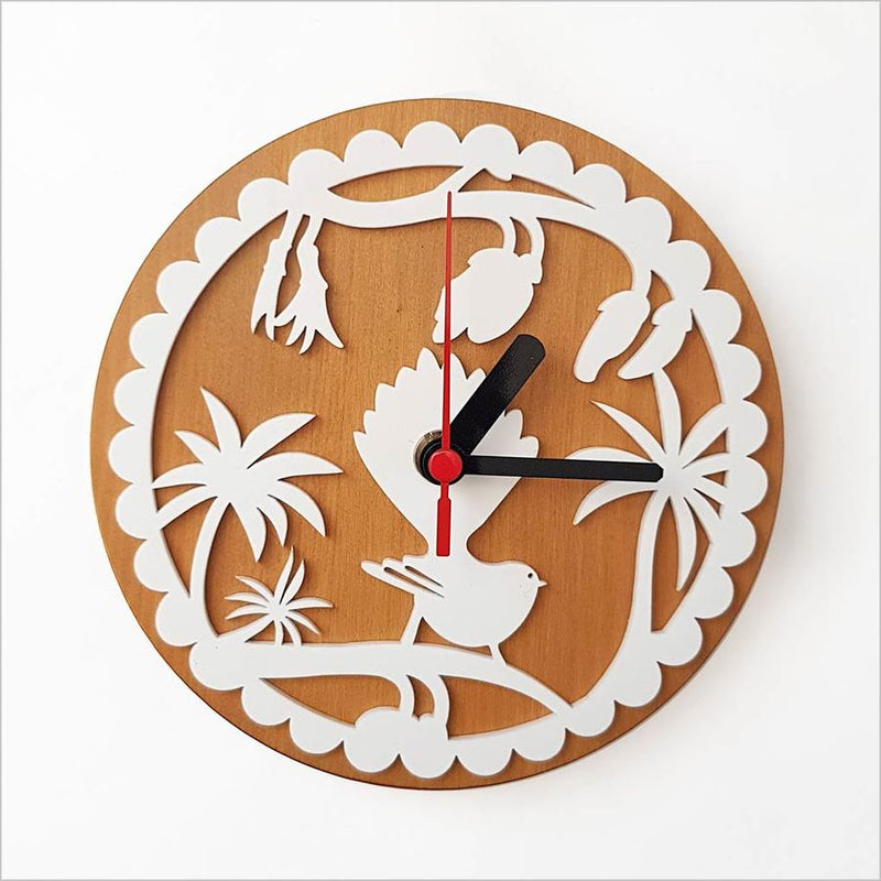 Clock: Fantail on Kowhai White + Silver Beech - Clocks