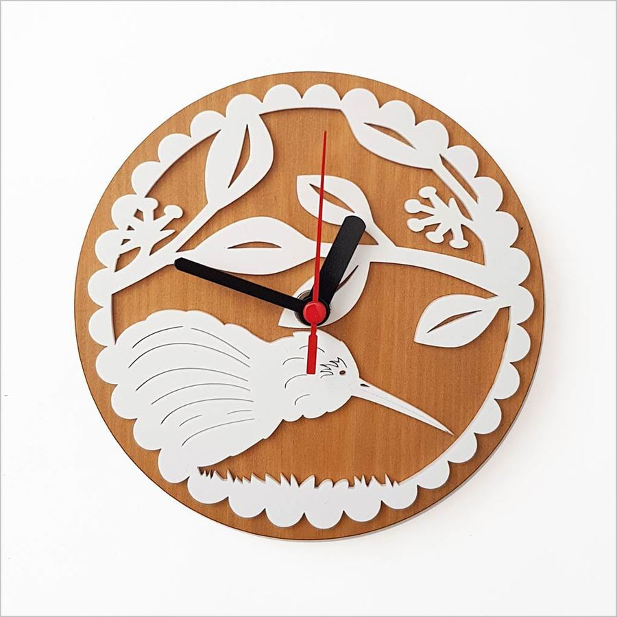 Clock: Kiwi on PHT White + Silver Beech - Clocks