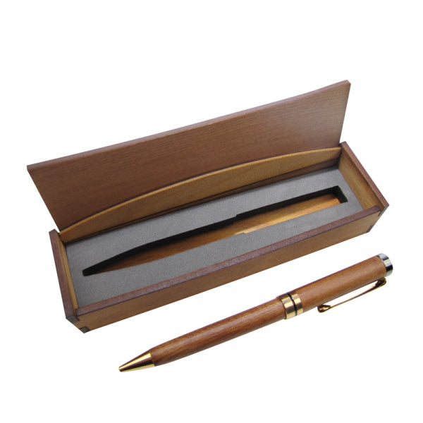 WOODEN PEN RIMU BRASS TRIM BOXED - Kiwi Collections