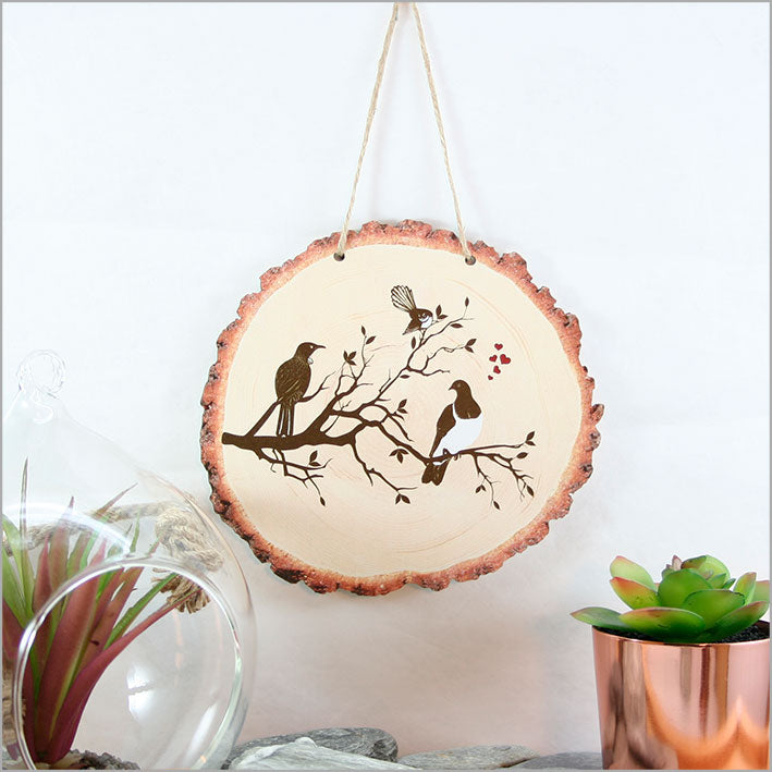 Wood Slice Art: Birds on Tree