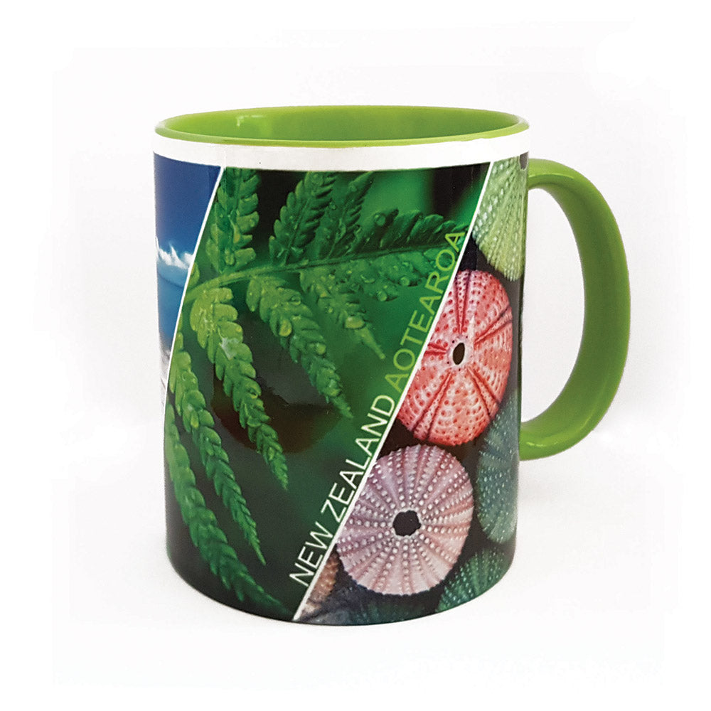 Pohutukawa/Beach/Fern/Shell Coffee Mug - 330ml - Kiwi Collections
