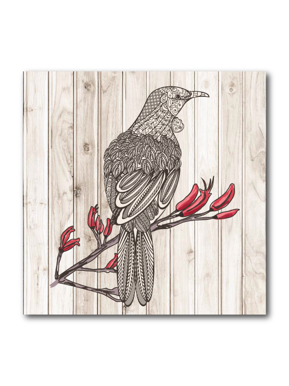 Plywood Art Block : Light wood Tui - Kiwi Collections