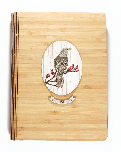 Bamboo Journals: Printed Light Wood Tui - Kiwi Collections
